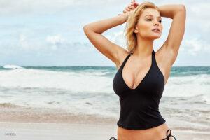 Blond Model in Black Bathing Suit Tank Top at Beach