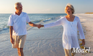 Older Woman and Man Holding Each Other's Hand on the Beach